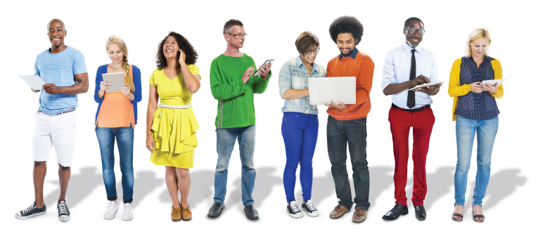 Diverse group of people standing with technology tools (i.e. tablets, phones)