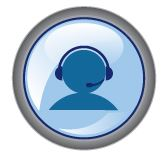 Round blue icon with symbolized head wearing a headset.