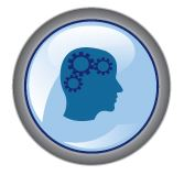 Round blue icon with symbolized head with gears.